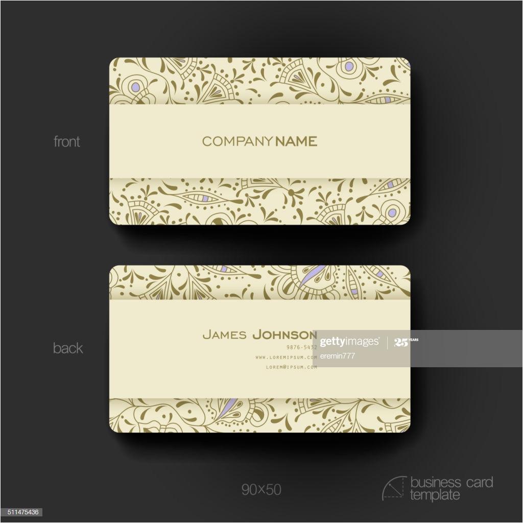 Write Name On Eid Card Businesskarte Vektor Vorlage Hintergrund Mit Floral ornament