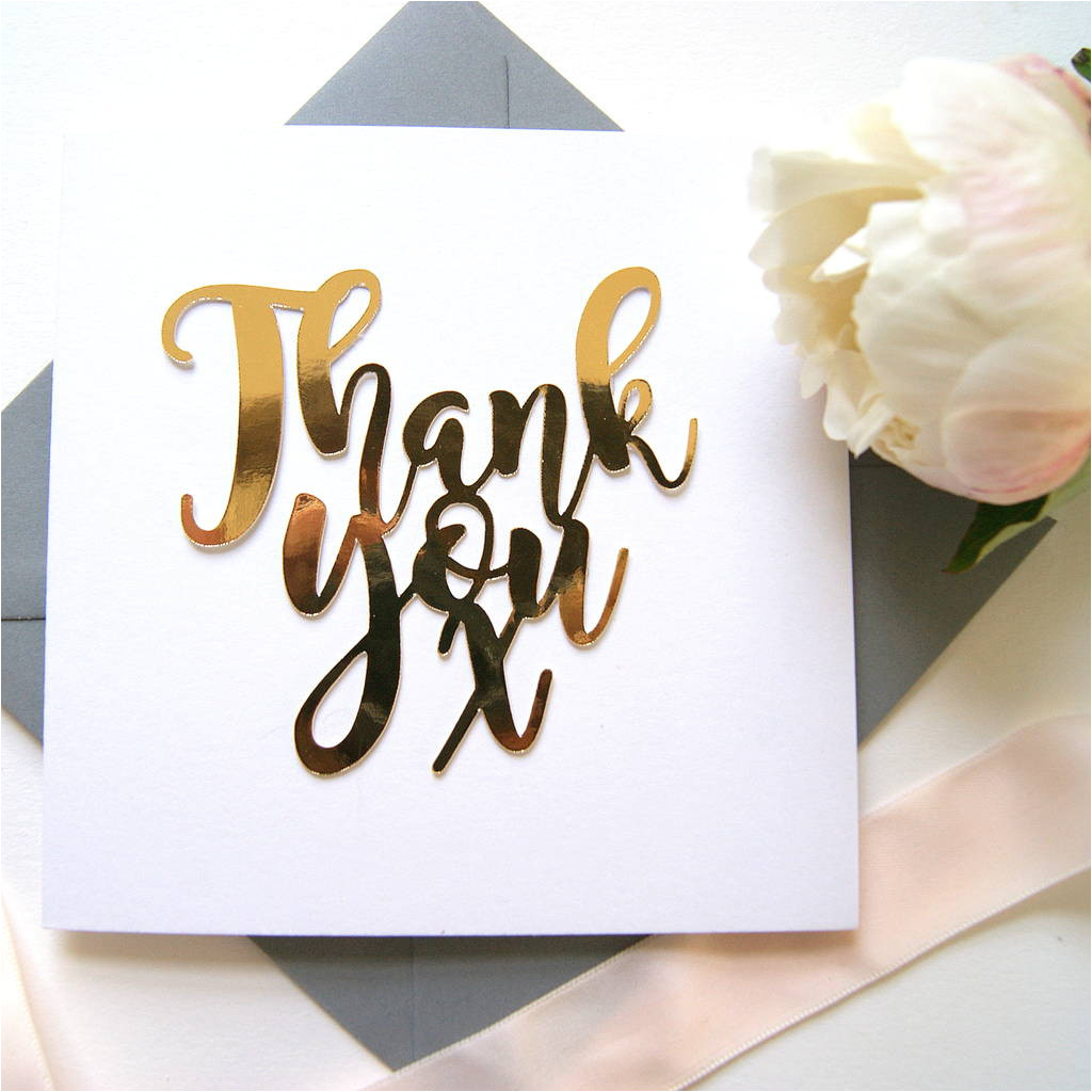 luxe gold thank you card