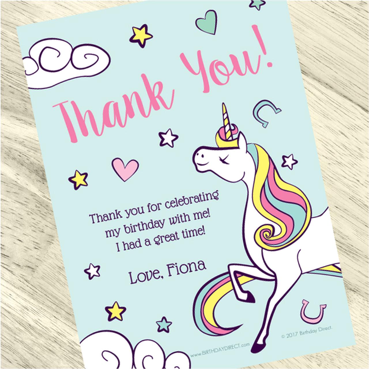unicorn personalized thank you notes