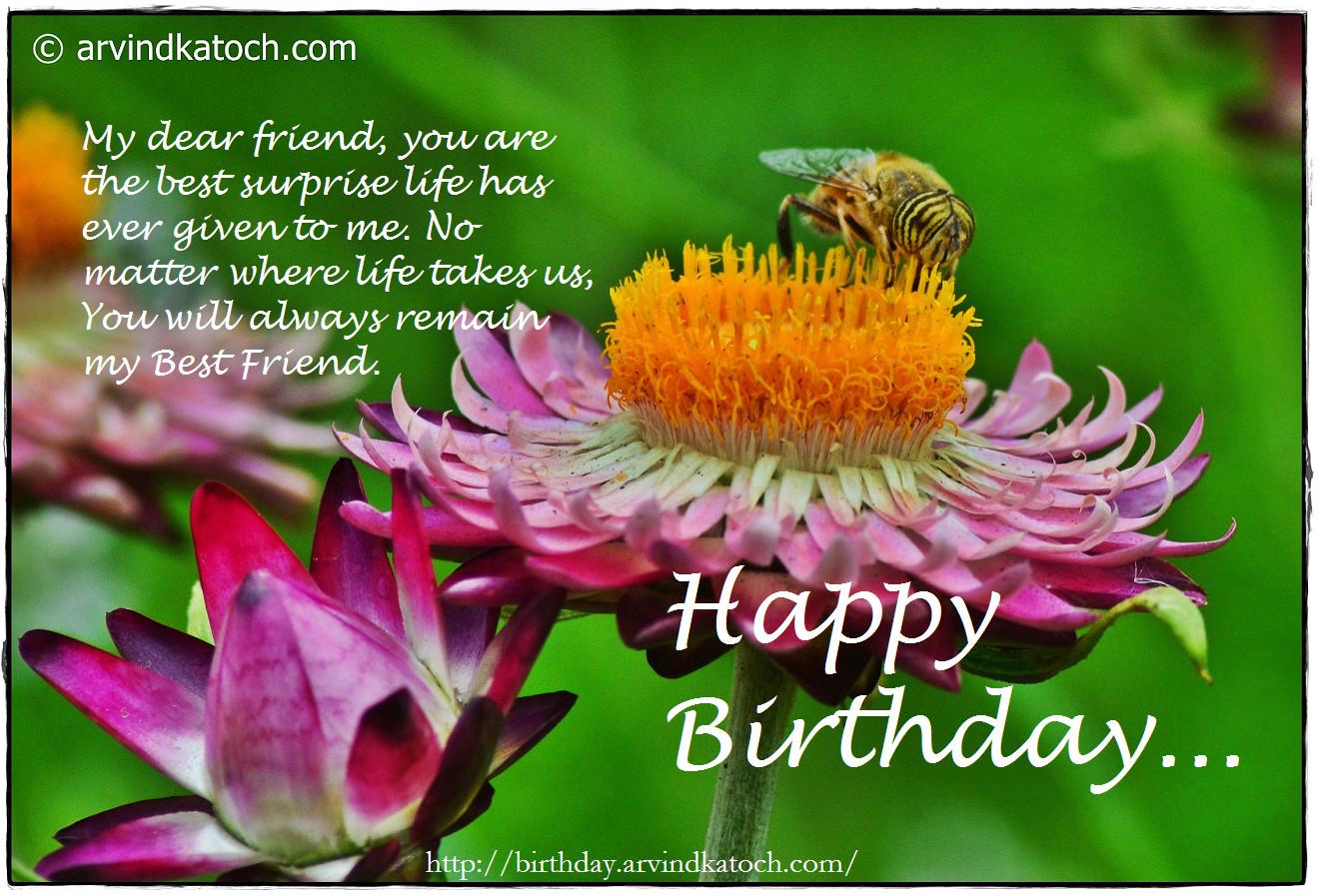 beautiful flower and bee birthday card