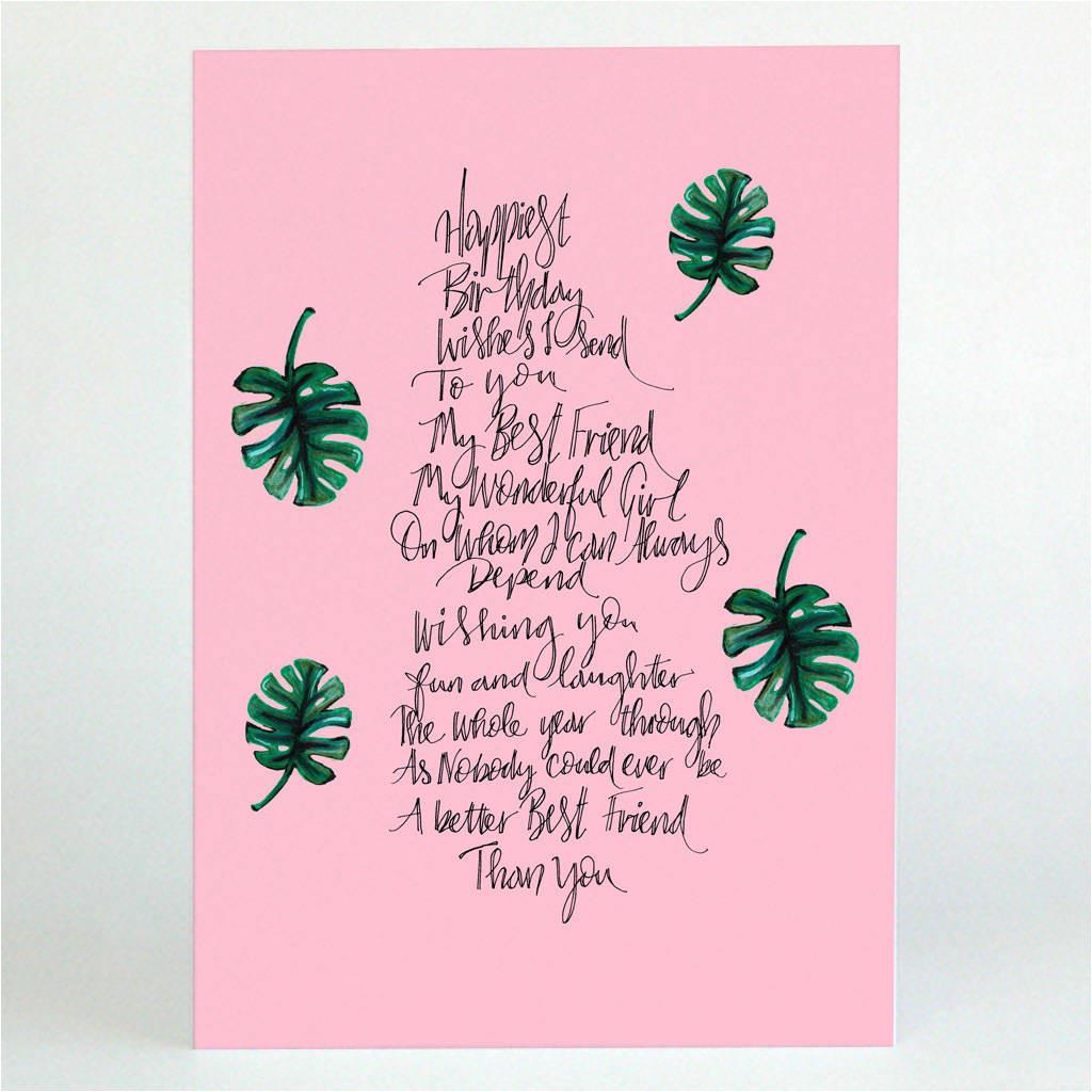 personalised best friend poem card