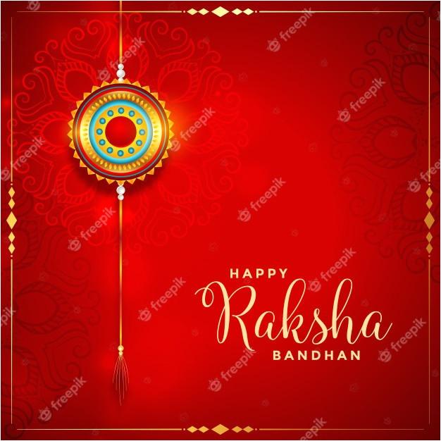 beautiful raksha bandhan red festival card