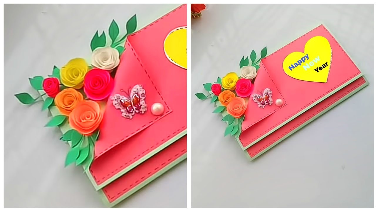 how to make new year 2019 greeting card easy and beautiful greeting card for new year