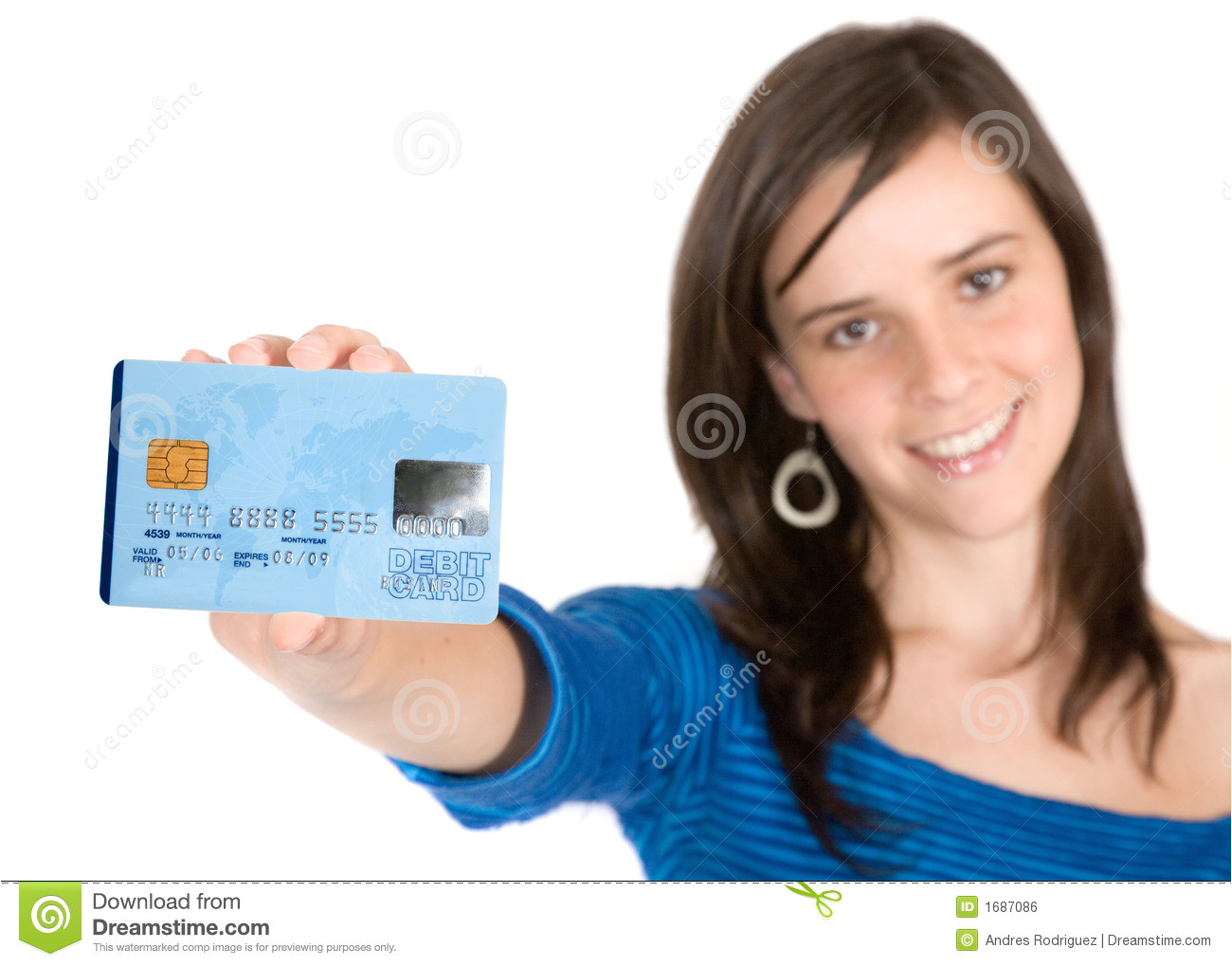 royalty free stock image casual girl holding credit card image