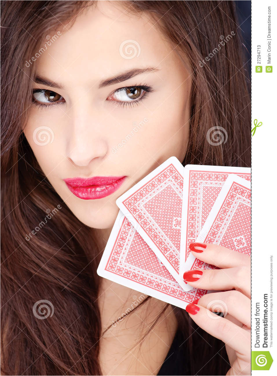 stock photos pretty woman holding cards image