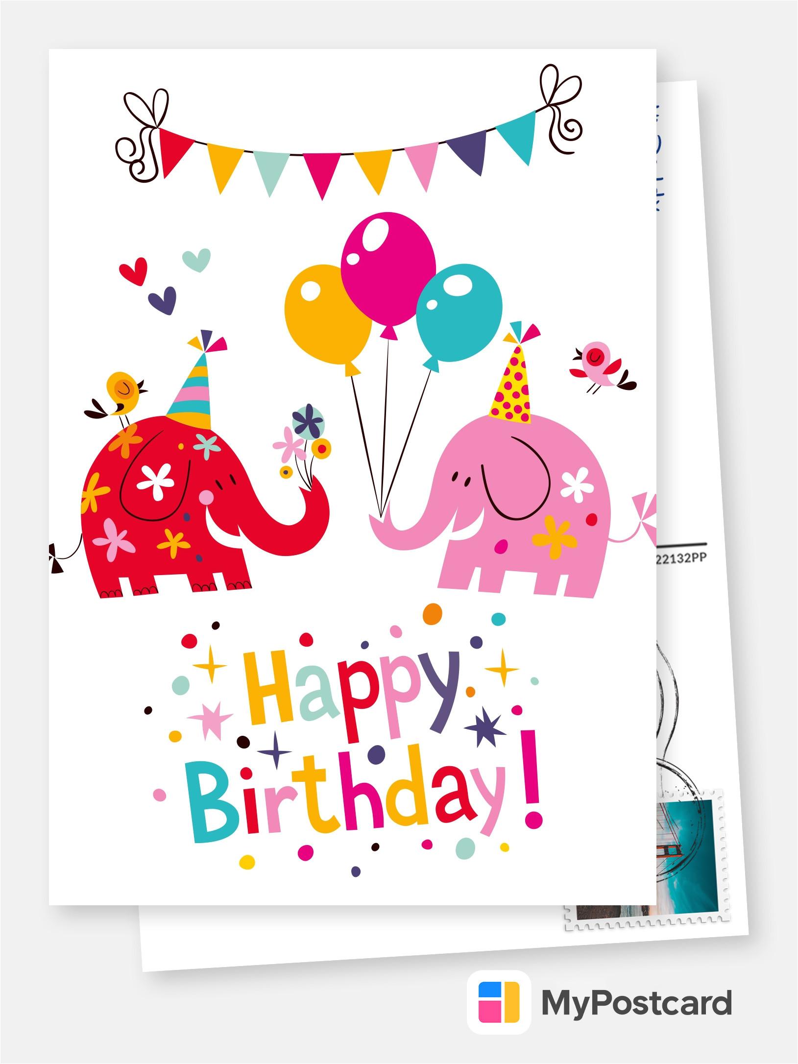 colorful elephant happy birthday postcard greeting card 2615