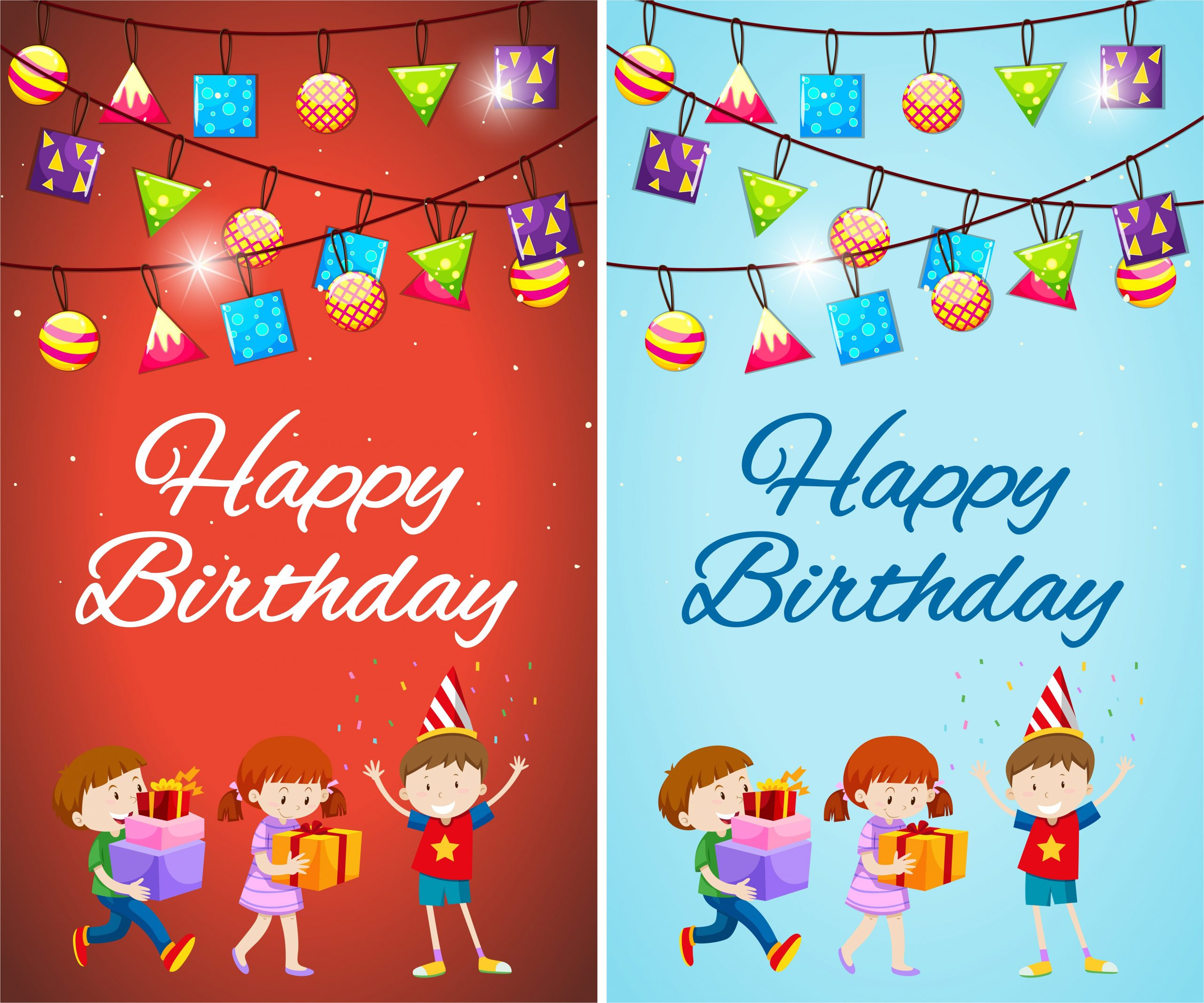 two designs of birthday card template with kids and presents