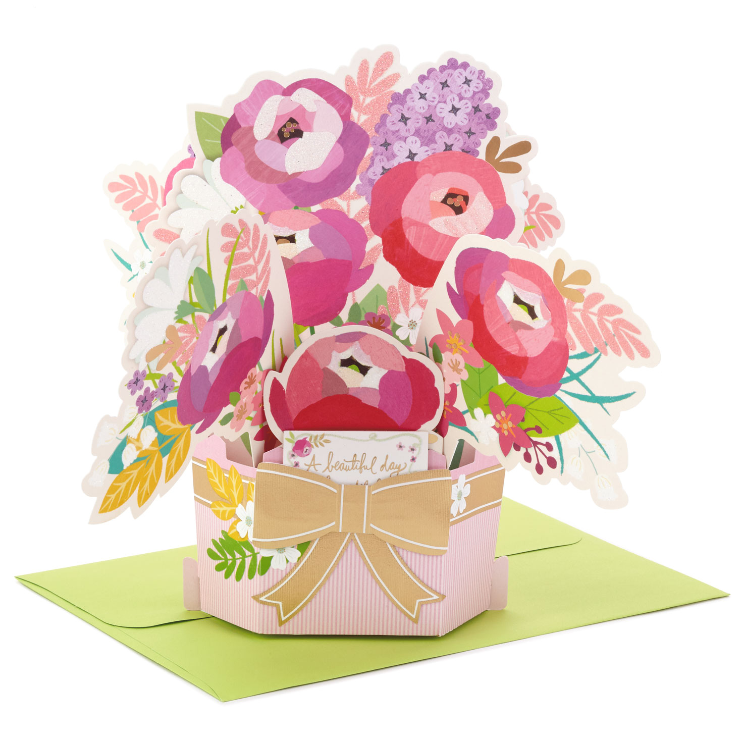 beautiful day flower bouquet 3d pop up birthday card 799WDR1080