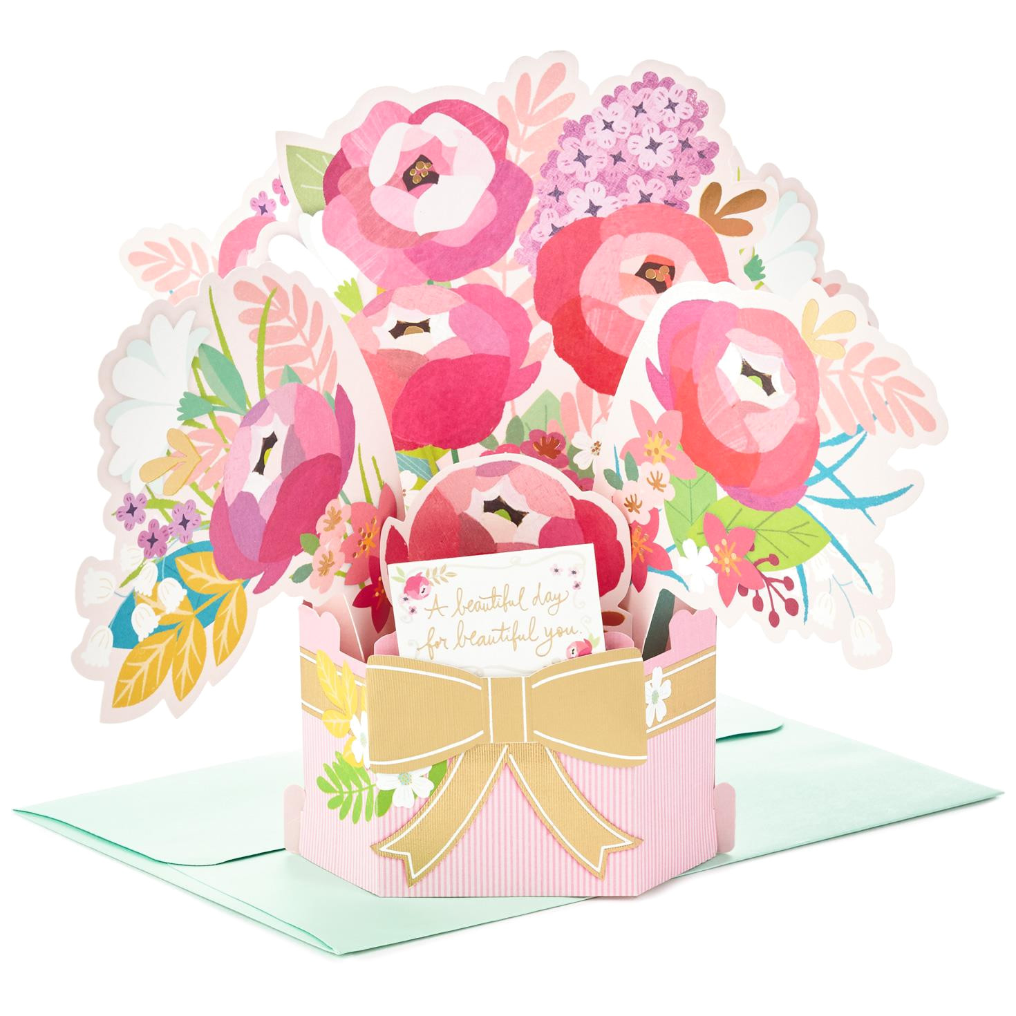 blossoming flower bouquet pop up birthday card 799PCR1042