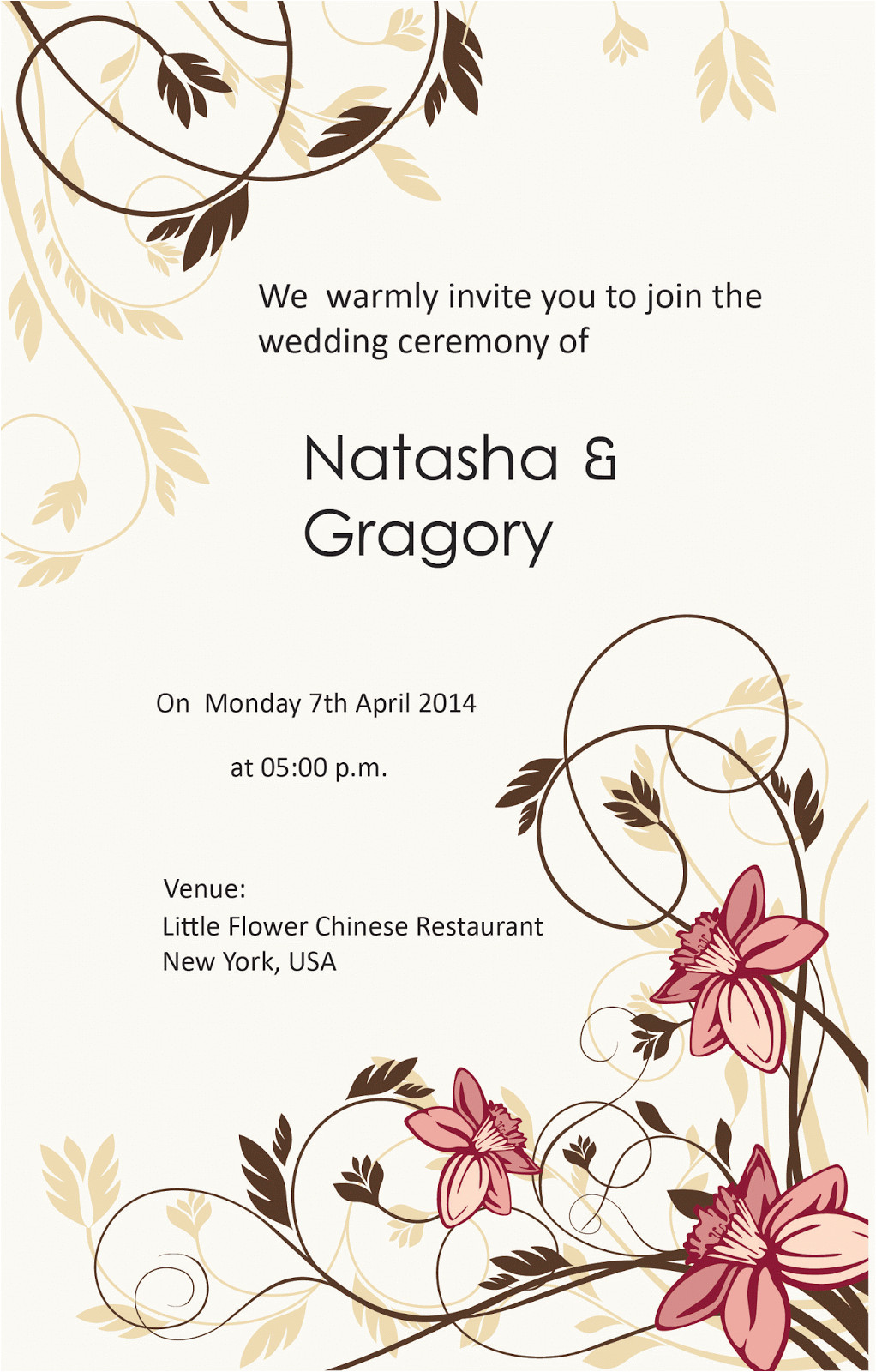 Card Sample for Marriage Invitation Sample Wedding Card Template