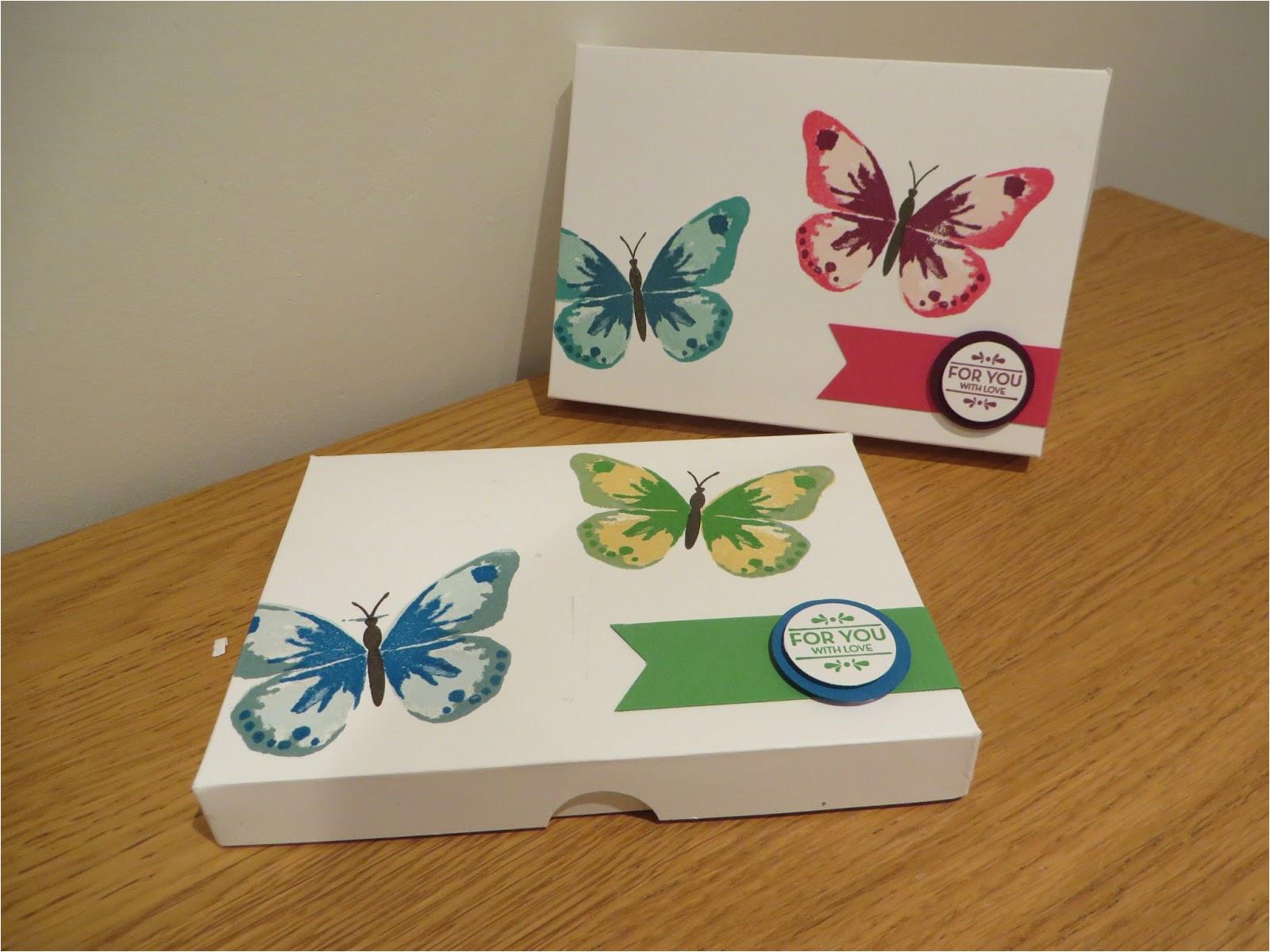 watercolor wings card t box handmade