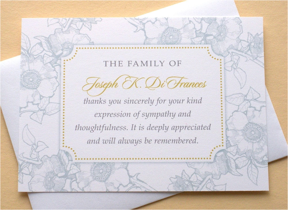 Funeral Thank You Card Etiquette Funeral Thank You Cards with Blue or Dusty Rose Flowers