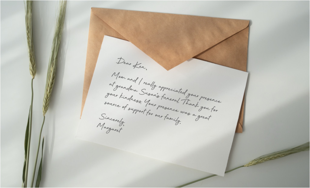 what to write in a funeral thank you card