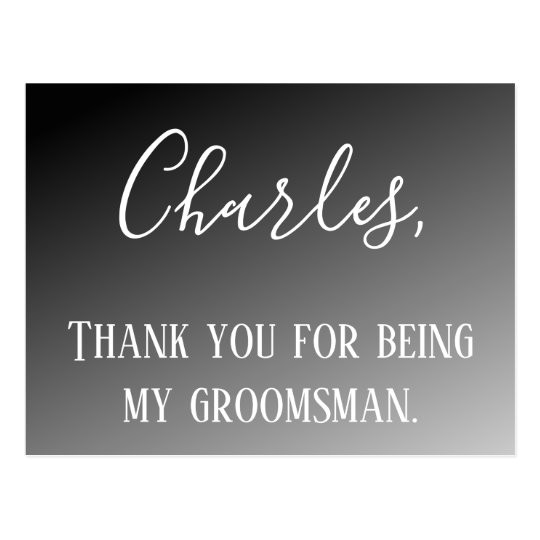 thank you for being my groomsman postcard