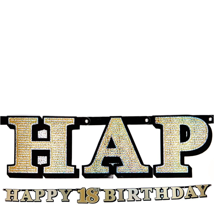 Happy Birthday Banner Card Factory Gold Holographic 18th Birthday Banner