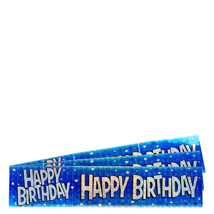holographic blue star foil happy birthday party banners