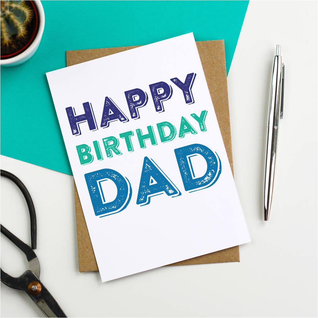 happy birthday dad wood block inspired greetings card