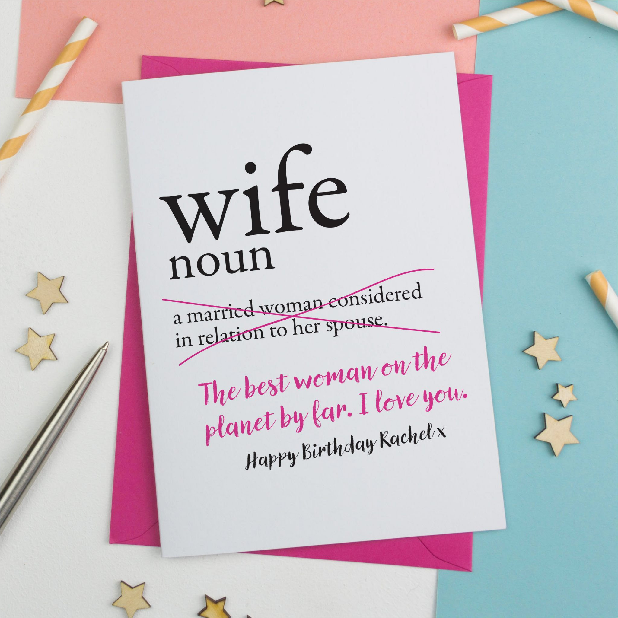 dictionary wife personalised birthday card