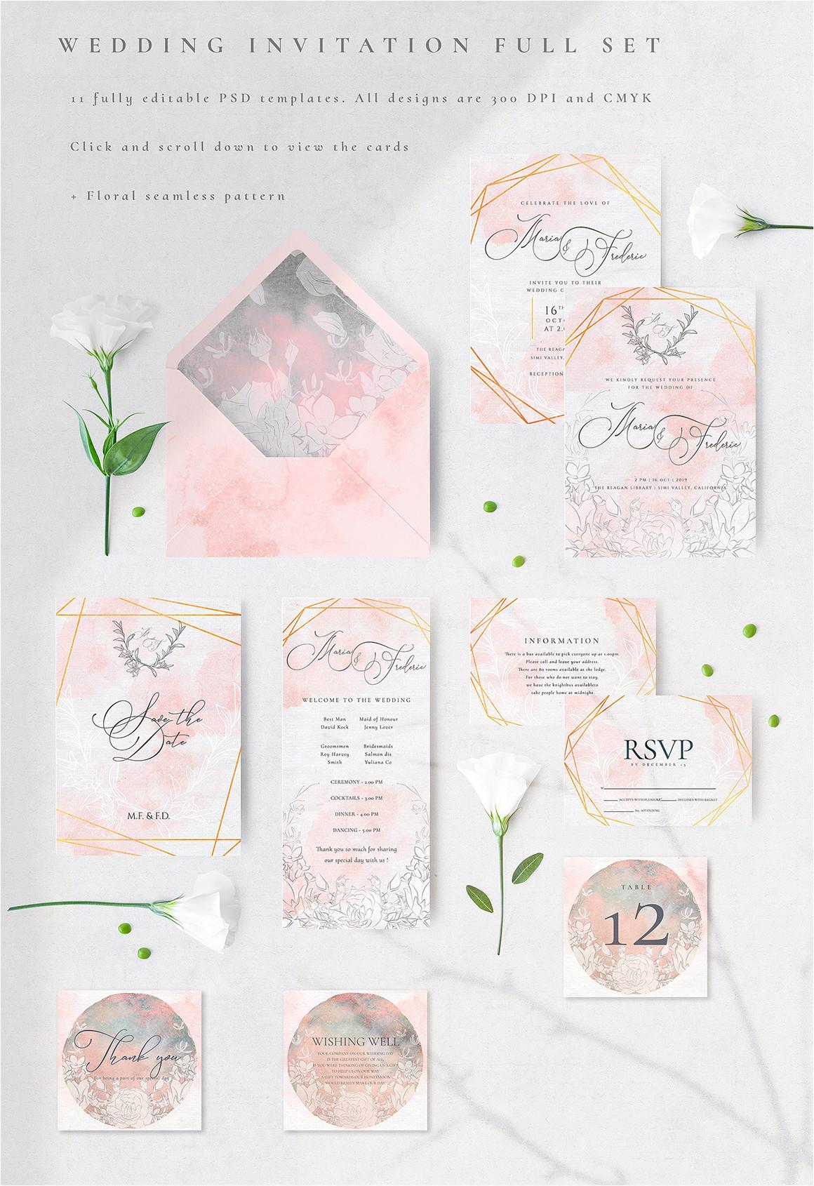 wedding invitation cards full set