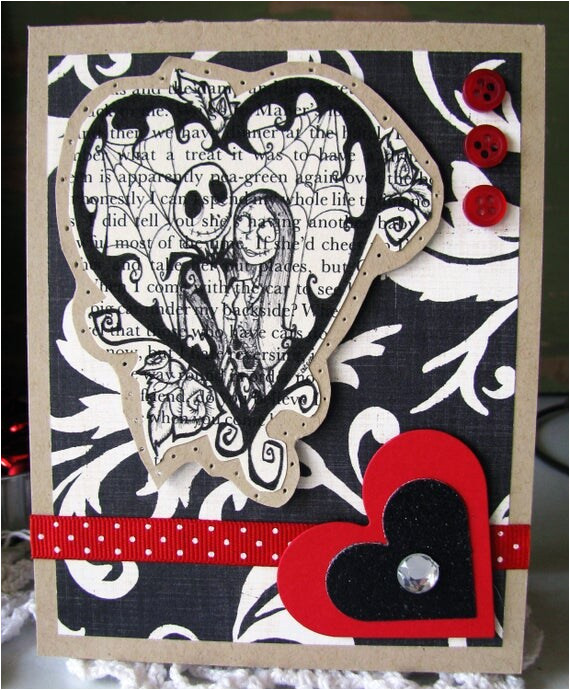 jack and sally in a heart valentine card