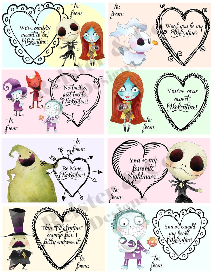 Jack and Sally Valentine Card Nightmare before Christmas Valentine S Day Cards Set