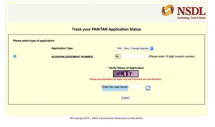 pan status for any nsdl pan card application