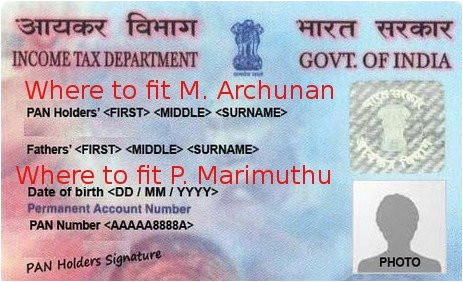 problem in linking aadhaar with pan card due to name mismatch