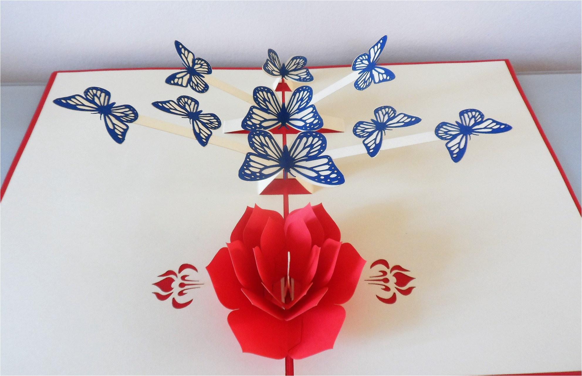 butterflies flowers 3d pop up card