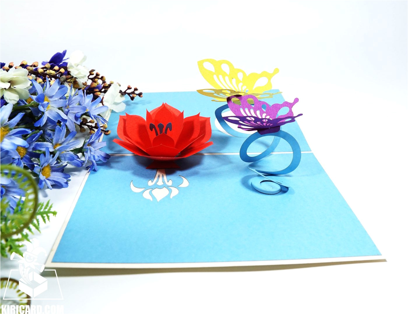 flower and butterfly pop up card
