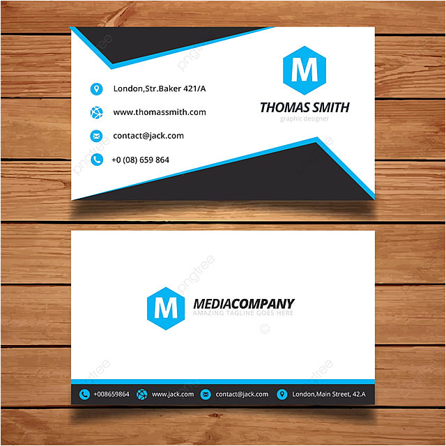 simple blue and white name card