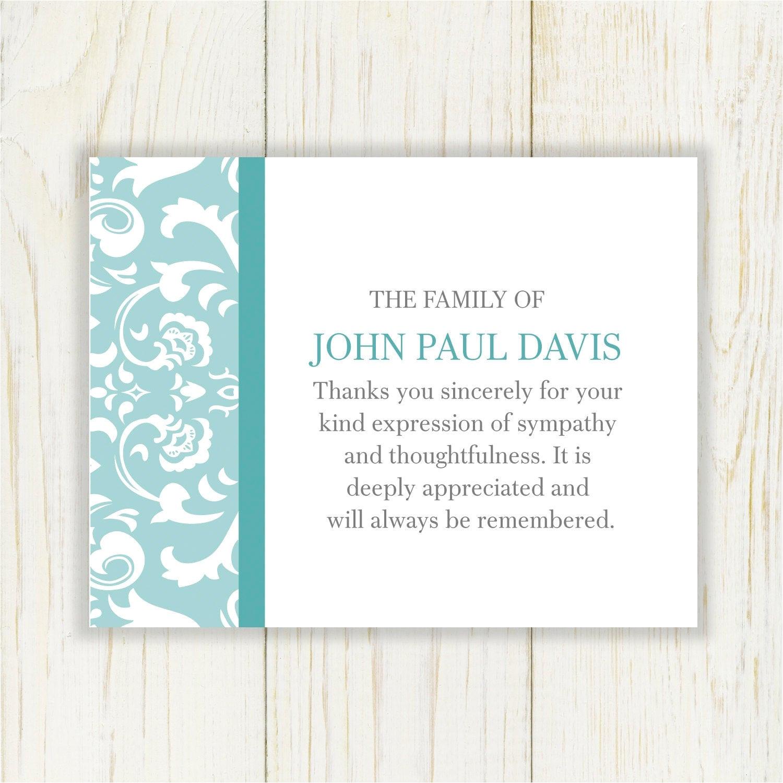 damask sympathy thank you card printable