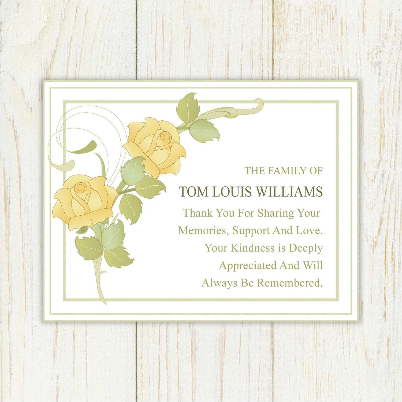 rose sympathy thank you card printable