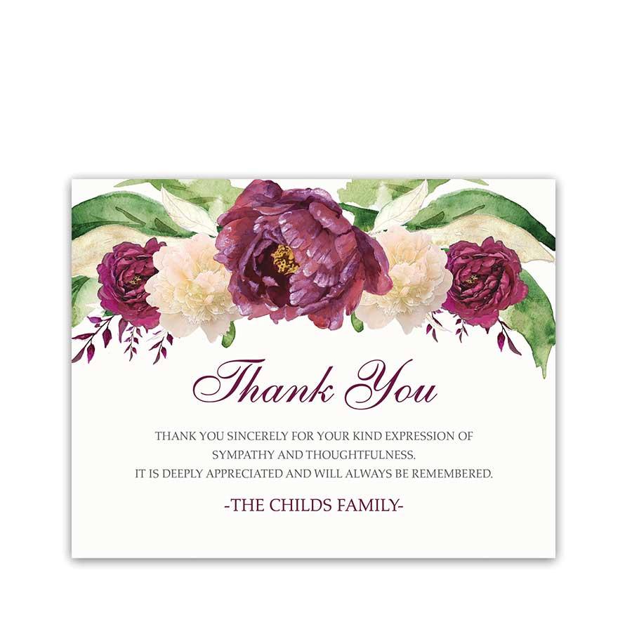 sympathy thank you card for condolences purple floral