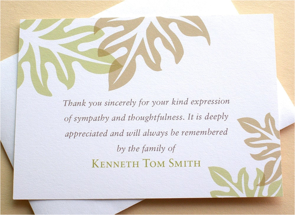 sympathy thank you cards brown and green