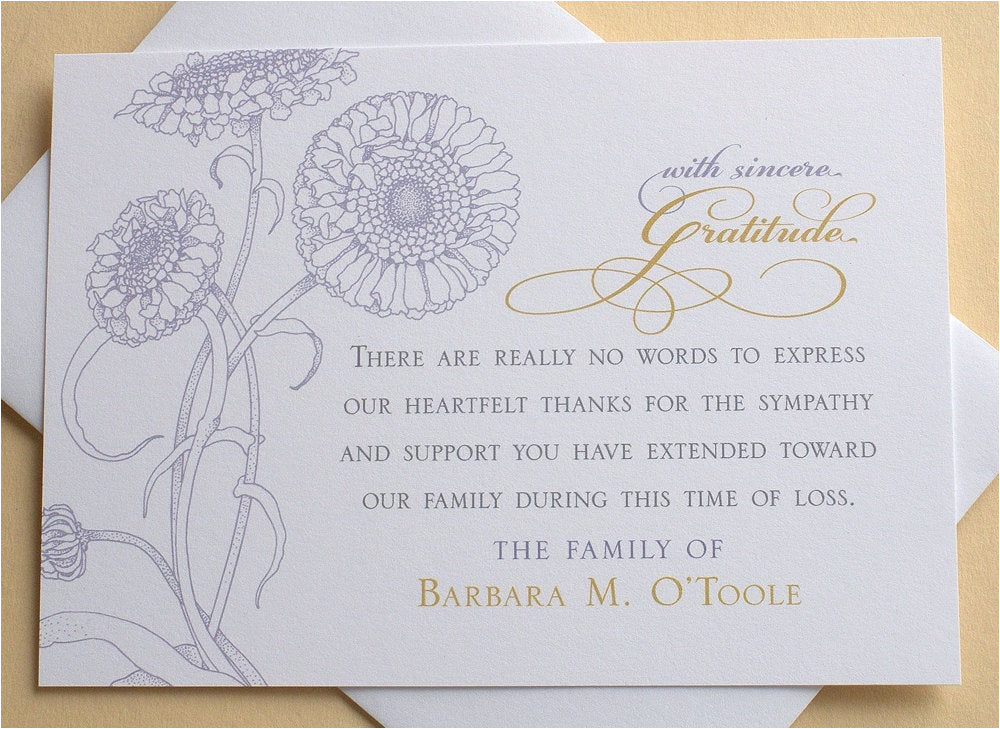 sympathy thank you cards with purple