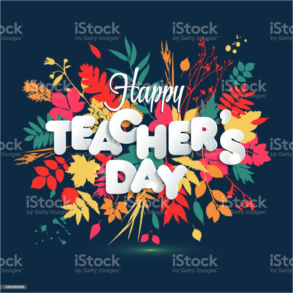 happy teacher s day layout design with volume paper letters card invitation or gm