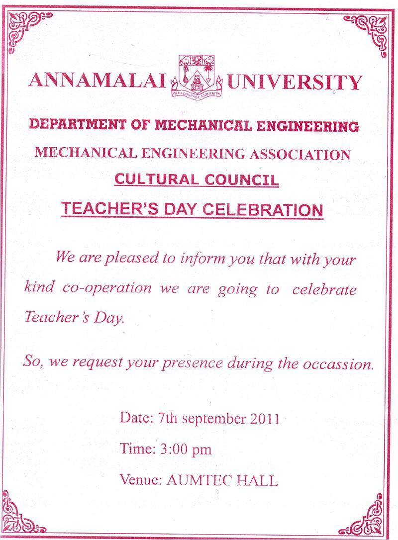 teachers day celebration invitation to
