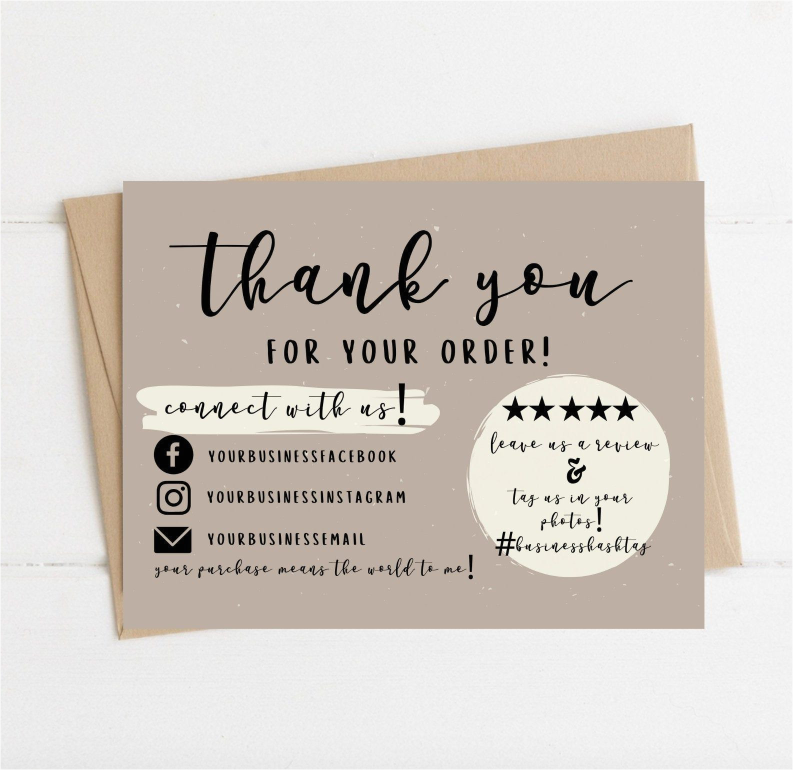 Thank You Card Ideas for Business Instant Download Thank You Card Editable and Printable