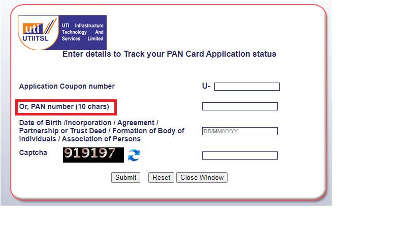 check pan card status online