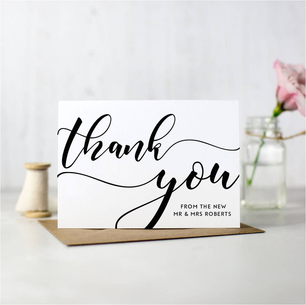 pack of 10 personalised wedding thank you cards