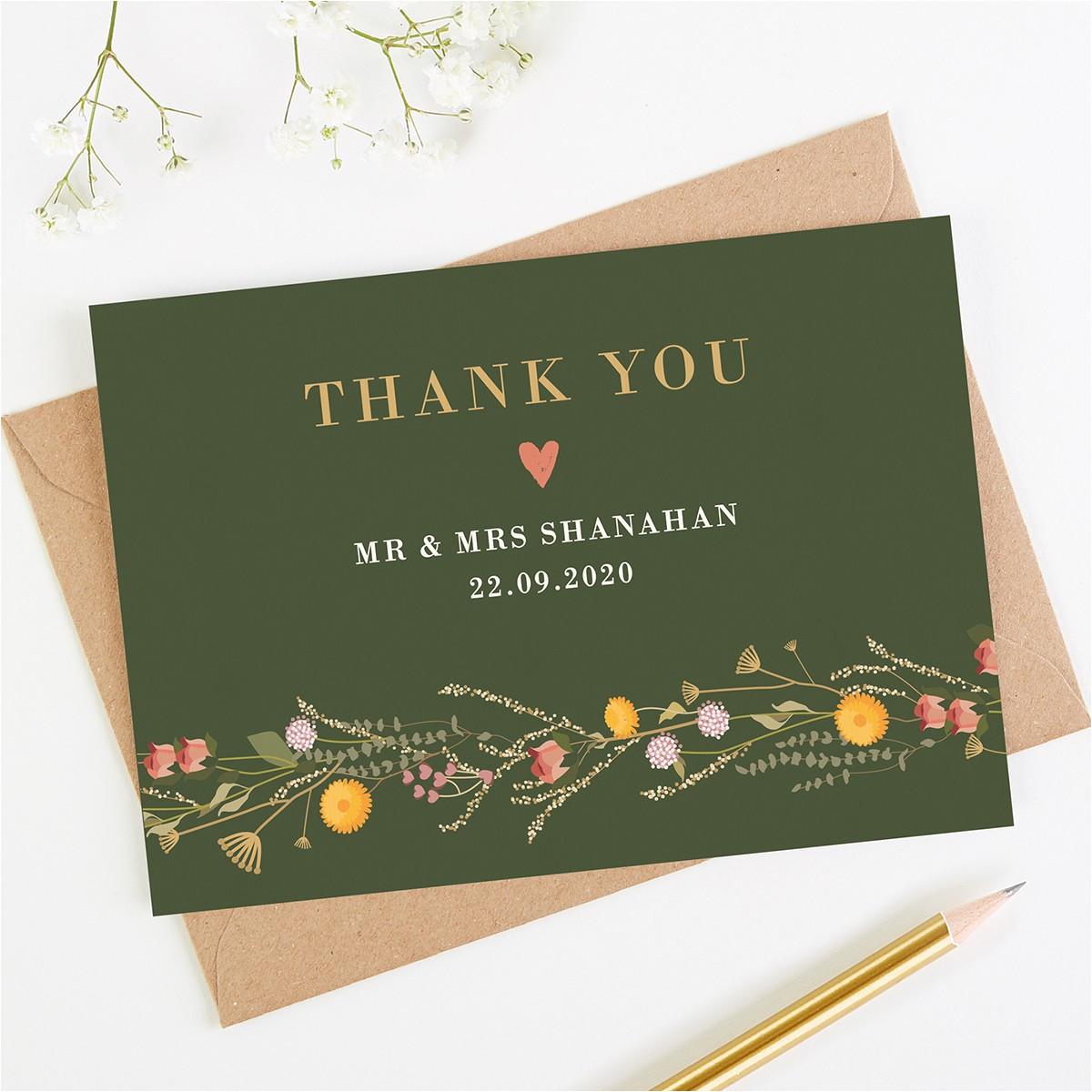 rustic wildflowers wedding thank you card