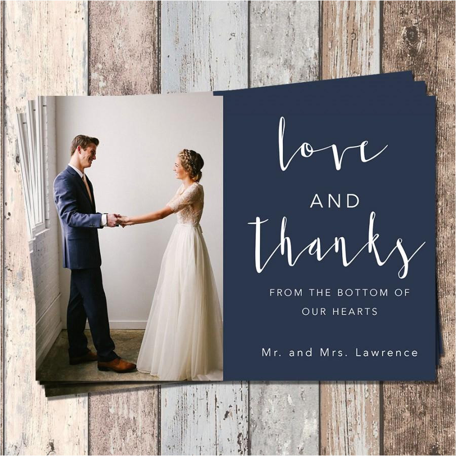 wedding thank you card wedding bridal thank you card piy printable customizable custom colors mailable card love and thanks