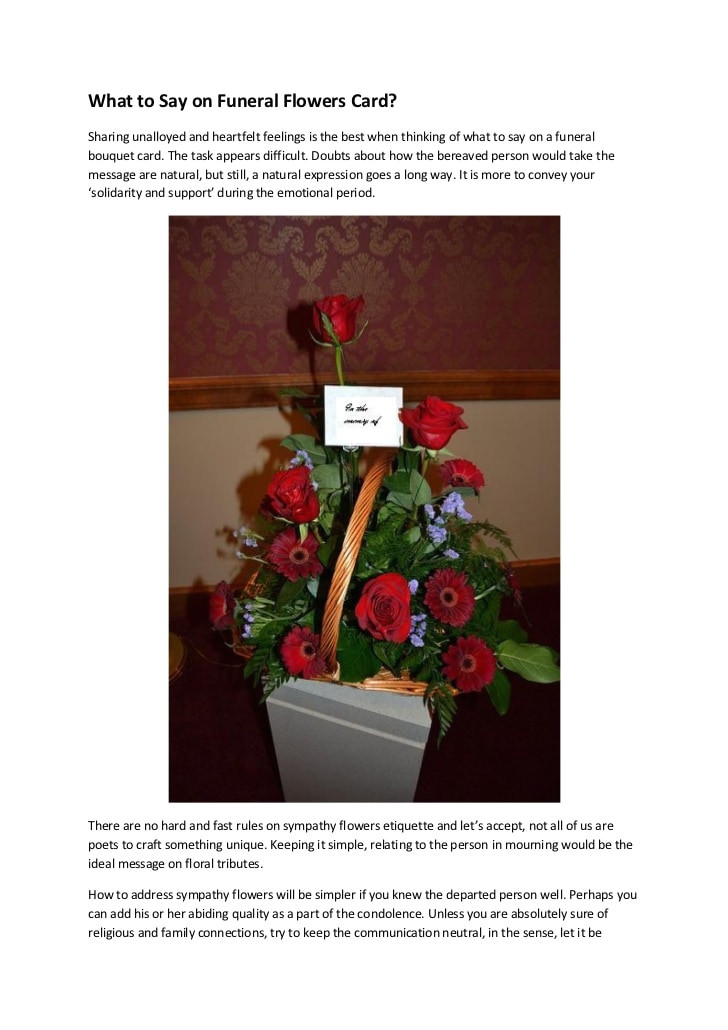 What to Say In A Funeral Flower Card What to Say On Funeral Flowers Card