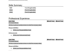 1 Page Resume Template Word Resume Template How to Write Stuff org