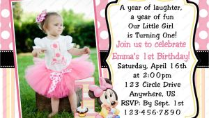 1 Year Birthday Invitation Card Minnie Mouse Invitations 1st Birthday with Images