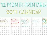 12 Month Calendar Template 2014 Printable 2014 Calendar Illustrations On Creative Market