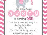 1st Birthday Invitation Card for Baby Girl Elephant Birthday Invitation First Birthday Pink Baby