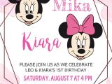 1st Birthday Invitation Card for Baby Girl Minnie Mouse Twin Girls Birthday Invitation Minnie Girl