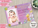 1st Birthday Invitation Card for Baby Girl Tinkerbell Birthday Invitation Editable Fairy