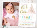 1st Birthday Invitation Card for Baby Girl Wild One Invitation Teepee First Birthday Invitation Girl